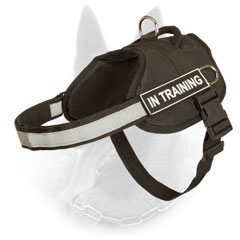 All Weather Nylon Belgian Malinois Harness with Reflective Strap for Police Dogs