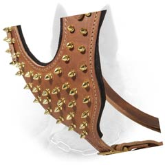Spiked Chest Plate of Leather Dog Harness for Stylish Walking