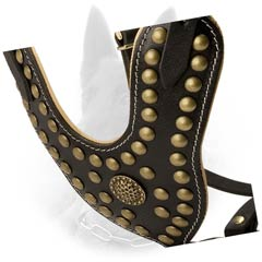 Studded Y-Shaped Chest Plate of Adjustable Leather Dog Harness