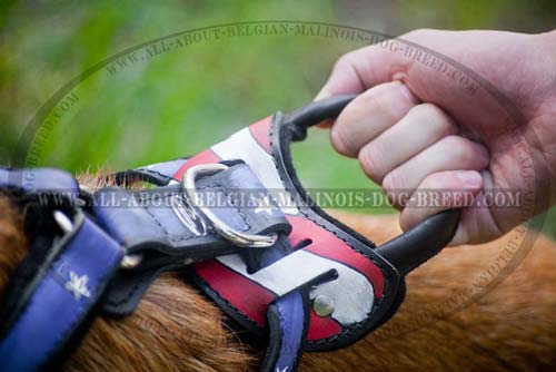 Round Handle on American Flag Painted Leather Dog Harness for Training