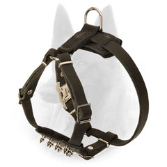 Easy Adjustable Leather Malinois Puppy Harness with Nickel Plated Hardware