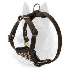 Padded Leather Malinois Puppy Harness with Shiny Nickel Plated Spikes