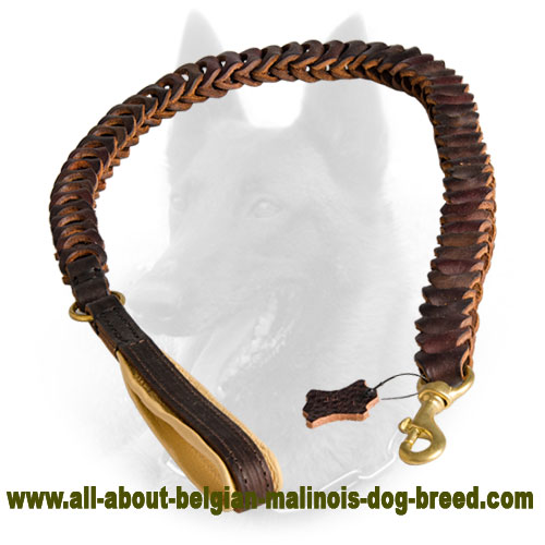 New Belgian Malinois Leather Leash with Anti-Pulling Design