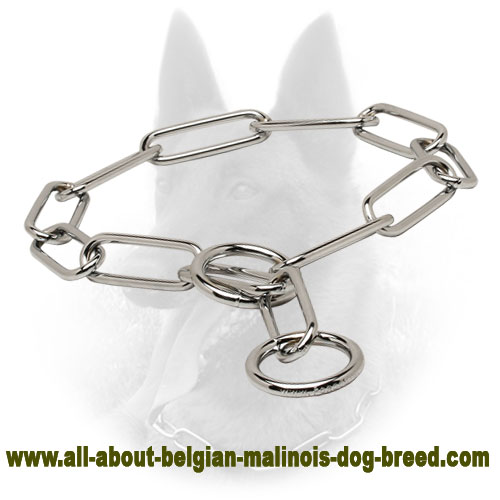 Stainless Steel Fur Saver Belgian Malinois Collar 'Iron Trainer' - 1/6 inch (4.0 mm)