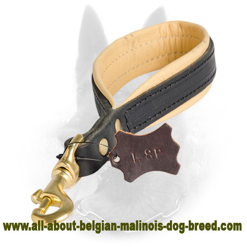 Easy Control with Leather Belgian Malinois Short Leash