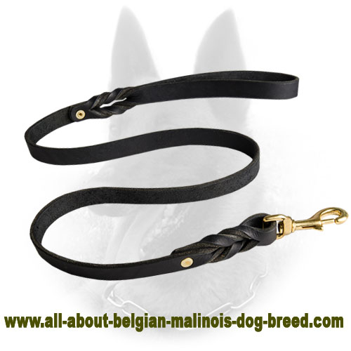 High-End Belgian Malinois Leather Leash for Comfortable Walking and Training