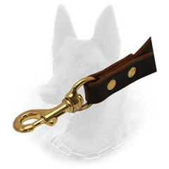 Riveted Leather Belgian Malinois Leash with Brass Snap Hook