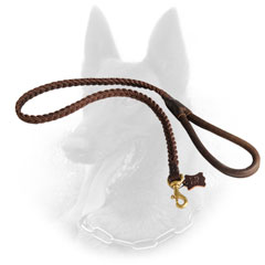 High-End Leather Belgian Malinois Leash with Rounded Handle