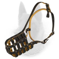 Belgian Malinois Improved Quality Leather Dog Muzzle  For Training