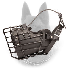 Belgian Malinois Metal Cage Dog Muzzle Covered with  Black Rubber