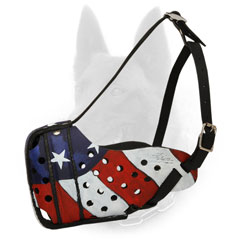 Unusual American Pride Painted Leather Dog Muzzle for Belgian Malinois Walking