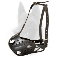Malinois Police Leather Dog Muzzle with Good Air Circulation